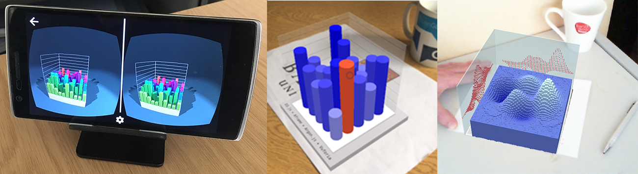"We have created a series of ptototypes, exploring Immersive Analytics with Web-technologies. One of our first prototypes used WebVR polyfill to display on Google Cardboard a 3D barchart, built using <a href=""https://d3js.org/"" target=""_blank"">D3.js</a> and <a href=""https://aframe.io/"" target=""_blank"">A-Frame</a> (left). We have also used <a href=""https://www.argonjs.io/"" target=""_blank"">Argon.js</a> and <a href=""https://aframe.io/"" target=""_blank"">A-Frame</a> for doing a similar depiction in handheld MR (middle). Finally, we explored the synergy beteen QR codes and AR targets to control both the data and the registration of MR-based data visualizations. See below for links to publiched and under-progress work (right)."
